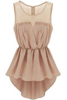 Apricot Sleeveless Back Zipper Bandeau High Low Dress
