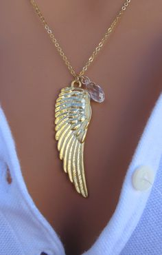 LOVE SALE White Swan Gold Angel Wing 14k Gold by RoyalGoldGifts