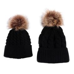 6325cbf7cbb 2Pcs Parent-child Hat Baby Girls Boys Hats Women Mother Hat Warm Winter  Knit Fur Crochet Pompon Winter Caps LM58