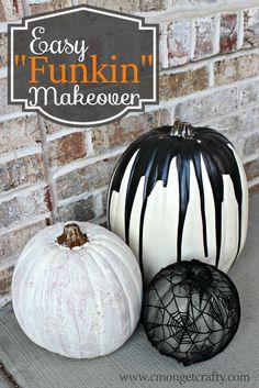 Pumpkin makeover http://cmongetcrafty.com/3-easy-funkin-pumpkin-makeovers/