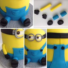 Use small pieces of yellow, blue and black icing to bring your Minion to life! Fondant Minions, Minion Cupcakes, Minion Torte, Bolo Minion, Cake Minion, Lego Cake, Fondant Toppers, Fondant Cakes, Cupcake Cakes
