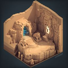 diorama ideas The penitent on Behance Minecraft Castle, Minecraft Medieval, Minecraft Plans, Minecraft Tutorial, Minecraft Blueprints, Minecraft Creations, Minecraft Designs, Isometric Art, Isometric Design