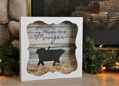 Away in a manger shadow box with straw! (raffia). Sign up for the monthly craft idea-newsletter:  http://www.wordplaydesigns.net/#!wp-newsletter/c1zmd