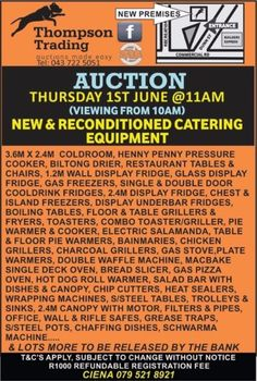 Loads of new, reconditioned and used equipment for every use! Join us Thursday at Thompson Trading, come and view from on the day! Catering Equipment, Restaurant Equipment, Henny Penny, Restaurant Tables And Chairs, Biltong, Used Equipment, Garden Items, East London, Make It Simple