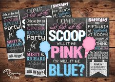 Ice Cream Social Gender Reveal Invitation - Find out the SCOOP Gender Reveal Party - Digital