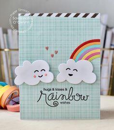 Happy card by Savannah O'Gwynn for Paper Smooches - Luminous Spring,Cute Fruit,Clouds,Rainbow