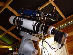 My personal imaging setup showing CCD cameras attached to my guide and imaging telescopes.