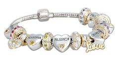 Delight Mom or Grandma with this stylish personalized birthstone bracelet that features each of her loved ones on two individual charms!  Elegant sterling silver bracelet features up to 6 grandkids' names and birthstones on a heart-shaped charm.  Their birthstones are also added to a matching birthstone roundel charm.