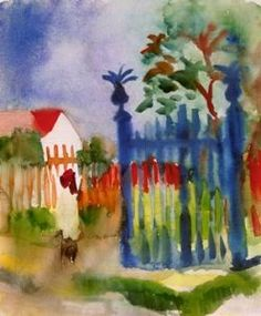 Gartentor - August Macke painting for sale with custom sizes and frames.Buy discount oil paintings at impeccable quality from our website. August Macke, Franz Marc, Wassily Kandinsky, Maurice De Vlaminck, Oil Painting Reproductions, Art Moderne, Garden Gates, Oeuvre D'art, Art For Sale