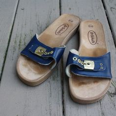 Vintage Dr Scholl's  Sandals  Navy Slide Wedge  by sabrosavintage, $24.00....I MISS THESE...does anyone else remember them:)