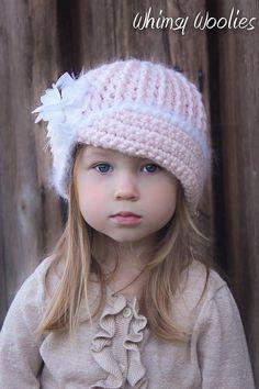 Crochet Pattern: 'Vintage Twist', Crochet hat, with Flower, 0-3mo, 6-12mo, Toddler, Children, Women