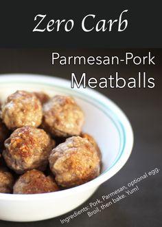 Parmesan-Pork Meatballs (zero carb, carnivore, keto) - Health, Home, & Happiness Pork Recipes, Low Carb Recipes, Diet Recipes, Cooking Recipes, Barbecue Recipes, Meatball Recipes, Cooking Tips, Meat Appetizers, Appetizer Recipes