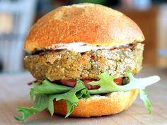 Chickpea Sweet Potato Quinoa Burgers with Spiced Yogurt Sauce via Ambitious Kitchen