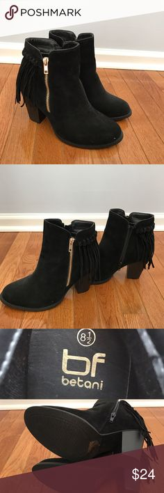 """Black Fringe Booties (Never Worn) Black Fringe Booties! Never worn! Size: 8.5! Purchased from a local boutique last year and never worn them. 3.5"""" heel. Zipper on inside, gold zipper on outside (just for looks)! Suede-type material. Comes from a very clean, smoke-free, pet-free owner/home! No Trades, No ️️!  Check my closet for any """"on vacation"""" notifications! Make an offer! Bundle and Save!!! Betani Shoes Ankle Boots & Booties"""