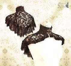 Capelet lace, Steampunk Victorian, black lace shrug, mori, Noctua, Somnia Romantica, up to size large, see item details for measurements