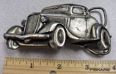 1932 Ford Coupe Deuce Hotrod Ratrod Vintage 1980 Bergamot Car Belt Buckle Brass #Bergamotbrassworks #Novelty