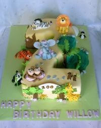 Girls Cakes :: zoo number 2 shape cake - Kids Cakes Geelong - Childrens Birthday Cakes
