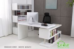 Mo Bosi white paint corner computer desk desk desk with bookcase rotatable shipping(China (Mainland)) Office Table Design, Corporate Office Design, Dental Office Design, Home Office Design, House Design, Executive Office Furniture, Modern Office Desk, Study Office, Small Office