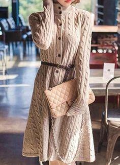 Sukienki Długość do Kolan Modne Bawełna Solidny Długi Rękaw