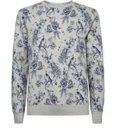4598469754 Grey and Blue Floral Crew Neck Sweater