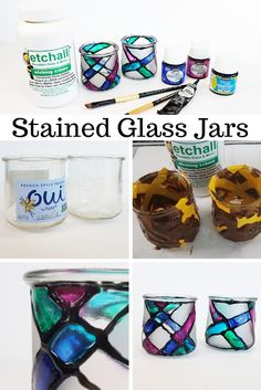 Erin Reed Makes: DIY Upcycled Stained Glass Containers from Oui Yogurt Jars The post DIY Upcycled Stained Glass Containers from Oui Yogurt Jars appeared first on Garden ideas - Upcycled Home Decor Crafts With Glass Jars, Mason Jar Crafts, Mason Jar Diy, Bottle Crafts, Upcycled Crafts, Diy Crafts To Sell, Repurposed, Sell Diy, Alcohol Ink Crafts