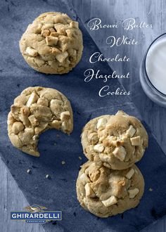 Brown butter lends a rich nutty flavor in these Ghirardelli White Chocolate hazelnut cookies. Chocolate Hazelnut Cookies, White Chocolate Recipes, Ghirardelli Chocolate, Cookie Recipes, Dessert Recipes, Desserts, No Bake Bars, Brown Butter, Sweet Tooth