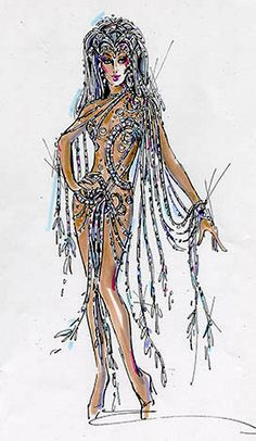"Cher's second costume version for ""Believe"" at Caesars Palace ""Because she wanted to be more naked"" - Bob Mackie"