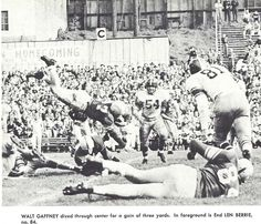 1953 USC-Oregon football game at Multnomah Civic Stadium in Portland. Walt Gaffney dives for a small gain. From the 1954 Oregana (University of Oregon yearbook). www.CampusAttic.com