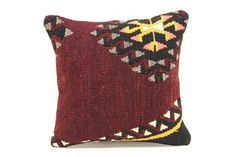 Decorative Kilim pillow cover 14x14 inches Wool by stripepattern