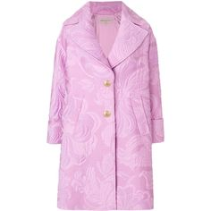 Emilio Pucci Jacquard Coat ($3,335) ❤ liked on Polyvore featuring outerwear, coats, oversized coats, long sleeve coat, emilio pucci, bear coat and flare coat