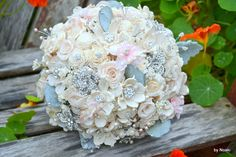 Mint and soft blush jeweled wood and preserved rose by Noaki, $185.00