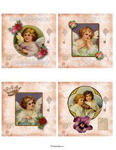 Vintage Angels 4x4 inch Square Digital Collage Sheet por katypixels, $3.50
