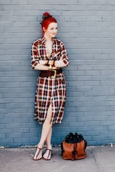 Vintage Madras Shirt Dress, Vintage and Dooney & Bourke bucket bag from Sea of Shoes blog
