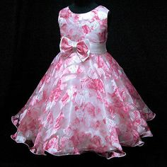 P3233 Pink Princess Fairytale Party Flowers Girls Dress SIZE 2,3,4,5,6,7,8,9,10T