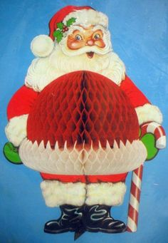 Vintage Christmas Honeycomb Decorations ~ Jolly Santa Claus with Candy Cane .i remember these in the 1980s Christmas, Old Fashioned Christmas, Christmas Scenes, Christmas Past, All Things Christmas, Christmas Specials, Christmas Night, Xmas, Vintage Christmas Images