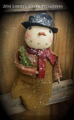 Primitive handmade Snowman in Wool Mitten by libertycreek on Etsy - Liberty Creek Primitives