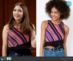 Riley's purple and pink striped knit top on Girl Meets World. Outfit Details: https://wornontv.net/59677/ #GirlMeetsWorld