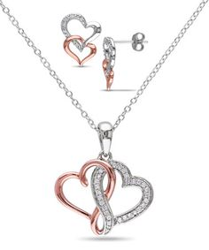 Loving this Diamond & Two-Tone Link-Heart Pendant Necklace & Stud Earrings on #zulily! #zulilyfinds