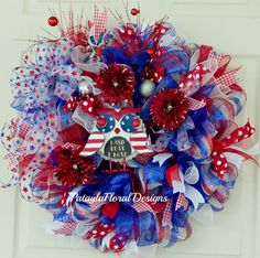 Patriotic Wreath With Owl Memorial Day by PataylaFloralDesigns