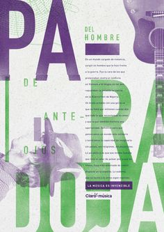 Claro Music on Behance // I like the soft cool colors and the contrast of large letterforms to small body copy.