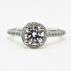 Custom Designed Shared Prong Halo Engagement Ring  #BrilliantEarth