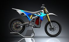 The BRD RedShift MX is an electric bike that's designed for racing, yet still manages to be street legal. Features include 40 maximum hp, fully adjustable front and rear suspension, a front wheel and rear, and a top speed of 80 mph. Electric Dirt Bike, Electric Cars, Electric Cycle, Scrambler Motorcycle, Racing Motorcycles, Eletric Bike, Motocross Bikes, Mx Bikes, Motorcycle Design