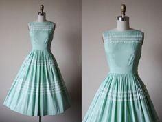 1950s Dress - Vintage 50s Dress - Mint Green Lace and Cotton Sundress XS - Julep…