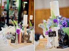 books, candles, and flowers as a centerpiece- love this! // photo by Liz Grogran Photography