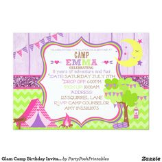 Glam camp makeover girls birthday invitation card girl birthday glam camp birthday invitation 5x7 camping girl stopboris Image collections