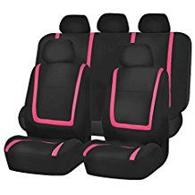 Unique Flat Cloth Seat Cover w. 5 Detachable Headrests and Solid Bench Pink / Black- Fit Most Car, Truck, Suv, or Van  black and pink seat covers