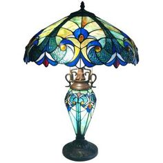 Victorian Art Tiffany Style Stained Glass Table Lamp
