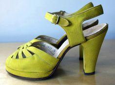 Sandales Plateforme - Daim Vert Anis - Années 40