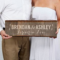 Create lasting Wedding memories with the Rustic Couple Personalized Plank Sign. Find the best personalized wedding gifts at PersonalizationMall.com
