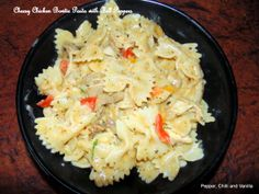 Cheesy Chicken Bow tie pasta with bell peppers.